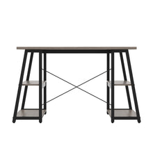 Load image into Gallery viewer, Grey Oak Odell desk with black frame, back view
