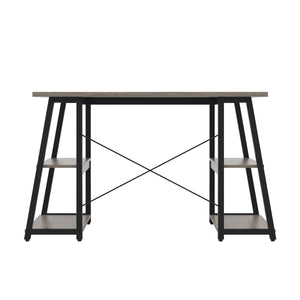 Grey Oak Odell desk with black frame, back view