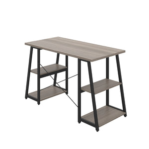 Grey Oak Odell desk with black frame, back angle view