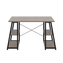 Load image into Gallery viewer, Grey Oak Odell desk with black frame, front view