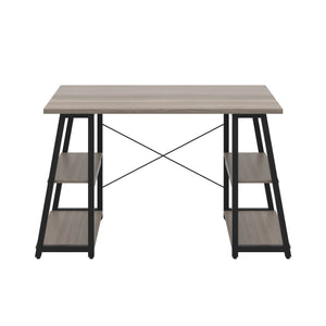 Grey Oak Odell desk with black frame, front view