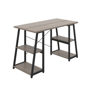 Grey Oak Odell desk with black frame, front angle view