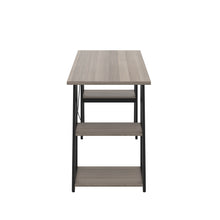 Load image into Gallery viewer, Grey Oak Odell desk with black frame, side view