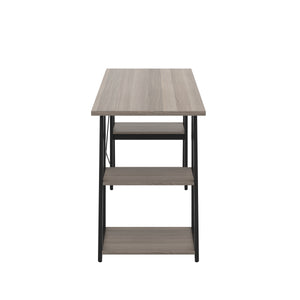 Grey Oak Odell desk with black frame, side view