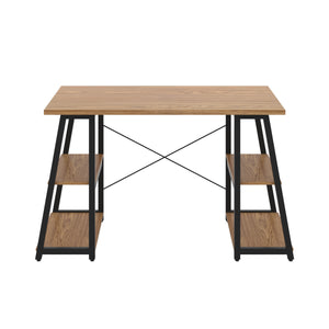 Oak Odell desk with black frame, front view