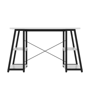 White Odell desk with black frame, back view