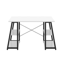 Load image into Gallery viewer, White Odell desk with black frame, front view