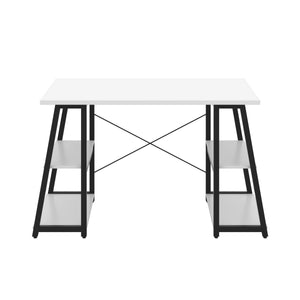 White Odell desk with black frame, front view