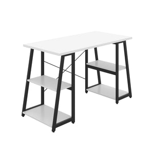 White Odell desk with black frame, front angle view
