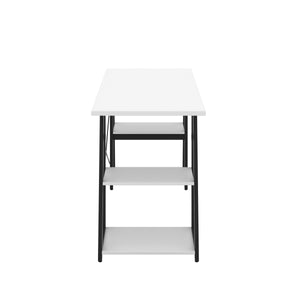 White Odell desk with black frame, side view