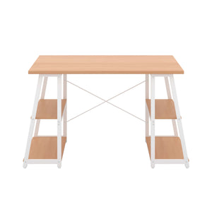 Beech Odell desk with white frame, front view