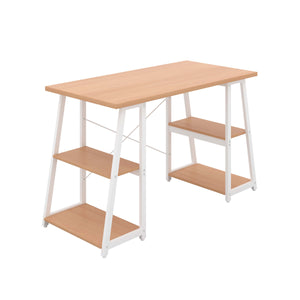 Beech Odell desk with white frame, front angle view