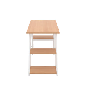 Beech Odell desk with white frame, side view