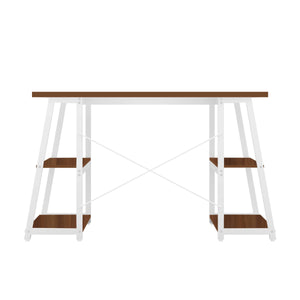 Dark Walnut Odell desk with white frame, back view