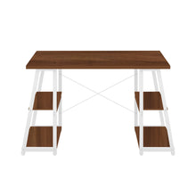 Load image into Gallery viewer, Dark Walnut Odell desk with white frame, front view
