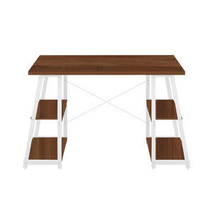 Dark Walnut Odell desk with white frame, front view