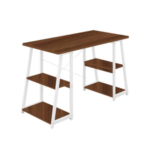 Dark Walnut Odell desk with white frame, front angle view