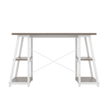 Load image into Gallery viewer, Grey Oak Odell desk with white frame, back view