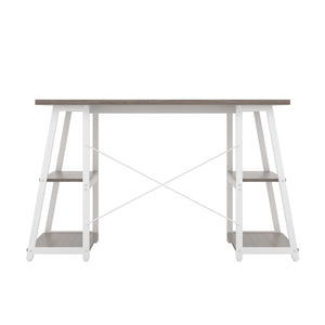 Grey Oak Odell desk with white frame, back view