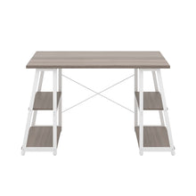 Load image into Gallery viewer, Grey Oak Odell desk with white frame, front view