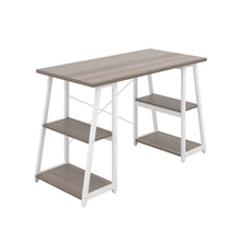 Load image into Gallery viewer, Grey Oak Odell desk with white frame, front angle view