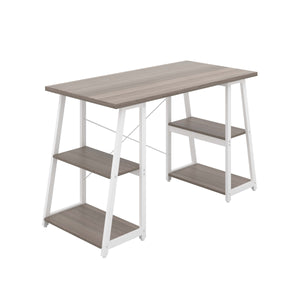 Grey Oak Odell desk with white frame, front angle view