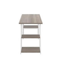 Load image into Gallery viewer, Grey Oak Odell desk with white frame, side view
