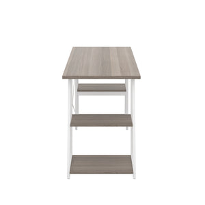Grey Oak Odell desk with white frame, side view