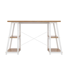 Load image into Gallery viewer, Oak Odell desk with white frame, back view