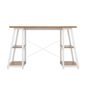 Oak Odell desk with white frame, back view