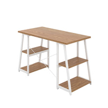 Load image into Gallery viewer, Oak Odell desk with white frame, back angle view