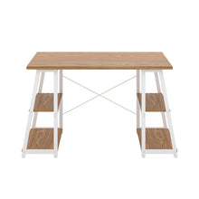 Load image into Gallery viewer, Oak Odell desk with white frame, front view