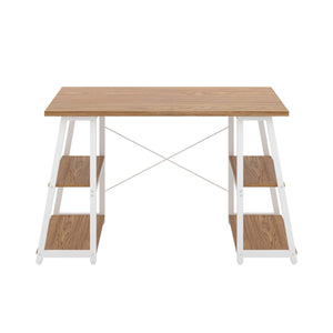 Oak Odell desk with white frame, front view