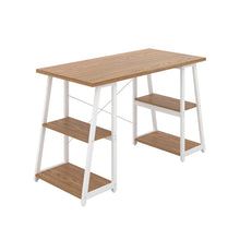 Load image into Gallery viewer, Oak Odell desk with white frame, front angle view