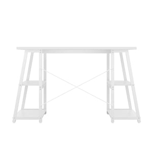 White Odell desk with white frame, back view