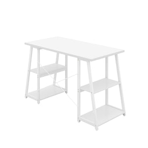 White Odell desk with white frame, back angle view