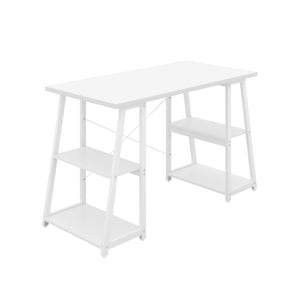 White Odell desk with white frame, front angle view