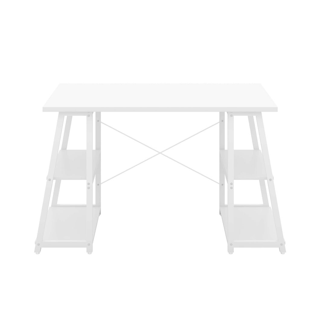 White Odell desk with white frame, front view