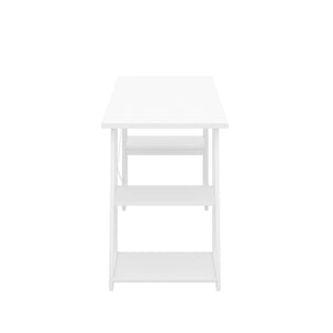White Odell desk with white frame, side view