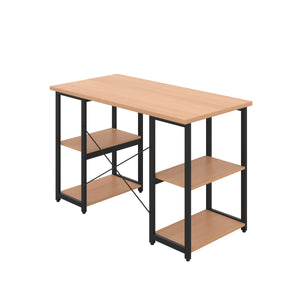 Beech Eaton Desk, Black Frame, Back Angle View