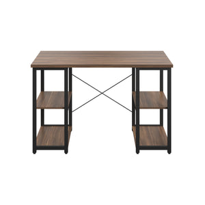 Dark Walnut Eaton Desk, Black Frame, Front View