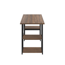 Load image into Gallery viewer, Dark Walnut Eaton Desk, Black Frame, Side View