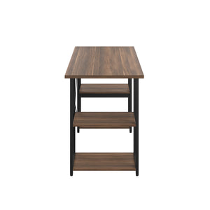 Dark Walnut Eaton Desk, Black Frame, Side View