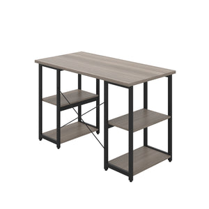 Grey Oak Eaton Desk, Black Frame, Back Angle View