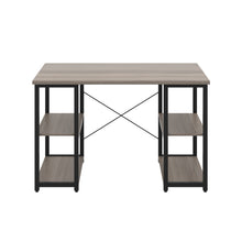 Load image into Gallery viewer, Grey Oak Eaton Desk, Black Frame, Front View