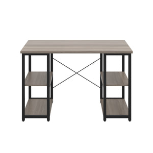 Grey Oak Eaton Desk, Black Frame, Front View