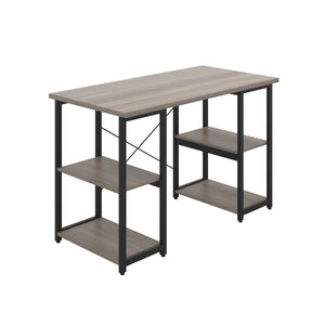 Grey Oak Eaton Desk, Black Frame, Front Angle View