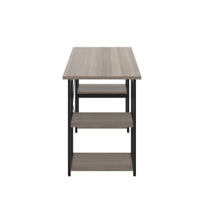 Grey Oak Eaton Desk, Black Frame, Side View