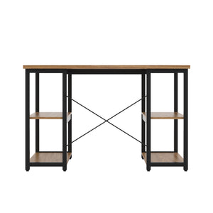 Oak Eaton Desk, Black Frame, Back View