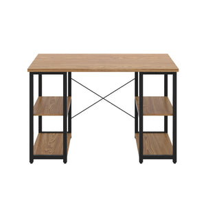 Oak Eaton Desk, Black Frame, Front View